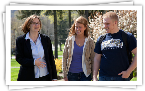 Dr. Jennifer Griffin gives students a tour of campus